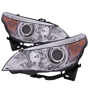 Headlights Set Hid Non Auto Adjust Pair For 04 2007 Bmw 5 Series Sedan
