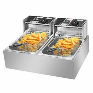 Colibrox 5000w 12l Dual Tanks Electric Deep Fryer W 2 Basket