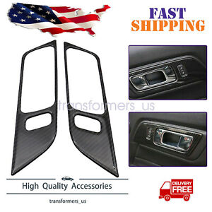 Carbon Fiber Interior Door Handle Trim Cover Fit For Ford Mustang 2015 2019