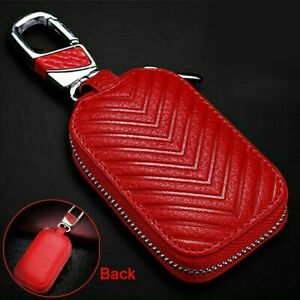 Universal Leather Car Remote Key Fob Chain Zipper Wallet Holder Bag Case Cover
