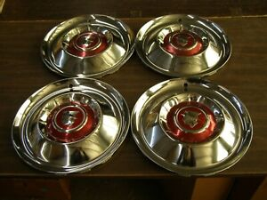 Nos Oem Ford 1955 Mercury Wheel Covers Hub Caps 2 New Montclair Monterey Trim