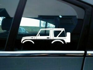 2x Car Silhouette Stickers For Suzuki Samurai Sj410 Soft Top Classic S38