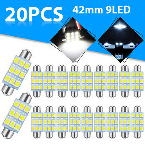 20x Super White 41mm 42mm 9smd Led Car 212 578 Festoon Dome Interior Light Bulbs