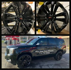 22 Gmc Yukon Sierra Black Wheels Chevy Tahoe Silverado Tires Escalade Rims 6lug