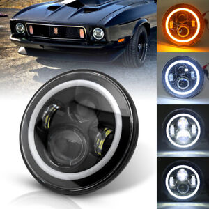 Dot 7 Round Led Headlight Halo Angel Eye For Jeep Wrangler Ford Mustang 1965 73