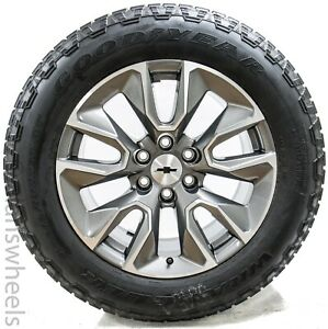 New Chevy Silverado 20 Machined Charcoal Rst Factory Oem Wheels Rims Tires 5916