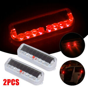 2pcs Solar Power Car Led Warning Security Dummy Alarm Anti Theft Flashing Lights