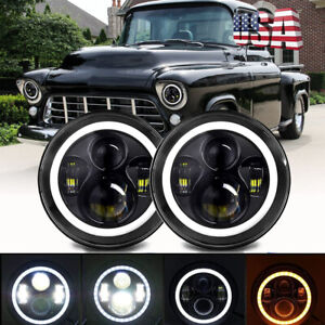 Pair 7 Inch Led Headlight Round Hi lo Sealed Beam For Chevy Pickup Truck 3100