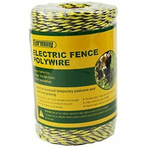 Farmily Portable Electric Fence Polywire 656ft 200m 6 Conductors