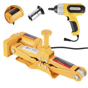 16 5in Electric Scissor Car Jack Lift Garage Lifting Impact Wrench 3 Ton 12v