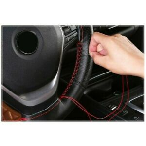 New Black Leather Diy Car Steering Wheel Cover With Needles And Red Thread 38cm