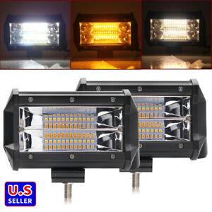 Pair 5inch Strobe Led Work Light Bar Flood Pods Driving Offroad For Jeep Tractor