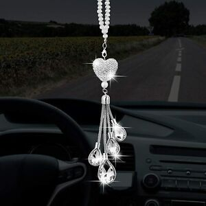 Bling Car Accessories White Heart And Pink Drops Bling Rinestones Diamond