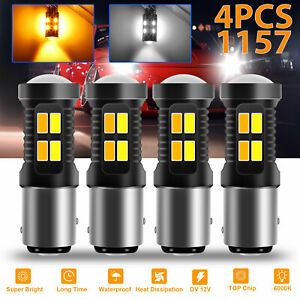 4x White Amber 1157 Led Drl Switchback Turn Signal Parking Light Bulb Dual Color