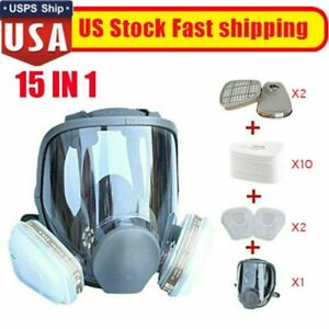 Full Face Gas Mask Painting Spraying Respirator W filters Kit For 6800 Facepiece