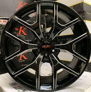 22 Gmc Yukon Sierra Black Milled Wheels Chevy Rims Tires Escalade Silverado