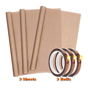 3 Pack Ptfe Teflon Sheet 12 X 16 And 3 Rolls 10mm X 33m Heat Resistant Subli