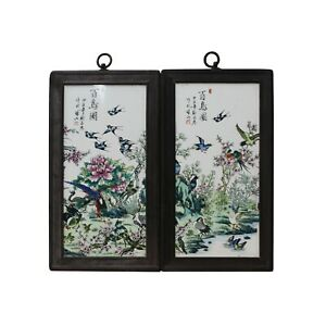 Pair Chinese Wood Frame Porcelain Flower Birds Wall Plaque Panels Ws1270