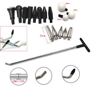Pdr Paintless Dent Removal Tools Rods Hook Tools Push Rod 8 Piece Tap Heads