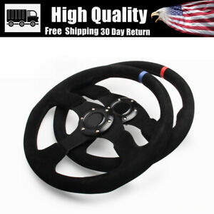 Blue Racing Steering Wheel 14in Suede Leather Flat With Horn