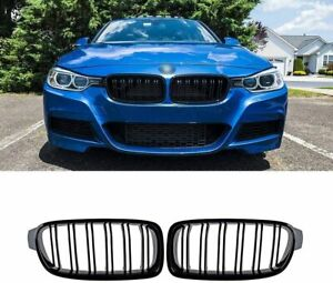 1pair Gloss Black Front Bumper Grille Grilles Kidney For Bmw 3 series F30 F31