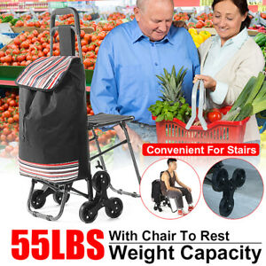 Folding Shopping Trolley Dolly Cart Bag With Stool Wheel Portable Holder Grocery
