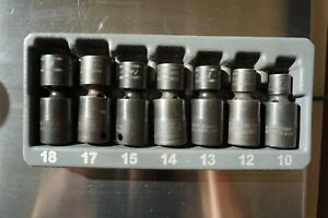 Snap on 7 Piece 3 8 Drive Metric Short Impact Swivel Socket Set 10mm 18mm 207ipf