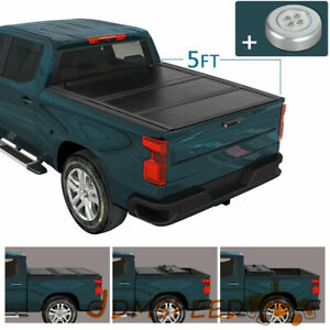 Truck 5 Bed Hard Solid 3 Fold 5ft Tonneau Cover For 2014 2018 Ford Ranger