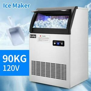 200lb Built in Commercial Ice Maker Stainless Steel Restaurant Ice Cube Machine