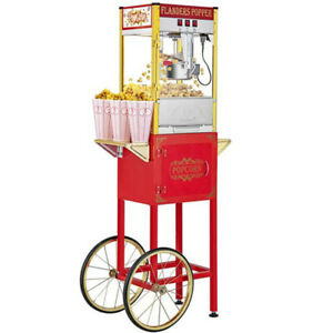 Popcorn Machine Maker Cart Red Movie Theater Style Hot 8 Oz Ounce Vintage New