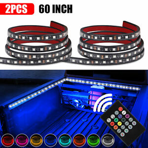 2x 60 Rgb Led Bar Truck Cargo Bed Light Strips Kit Fit For Chevy Ford Dodge Gmc