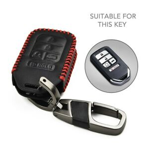 For Honda Civic Accord Cr V Pilot Leather Car Remote Key Fob Chain Cover Case