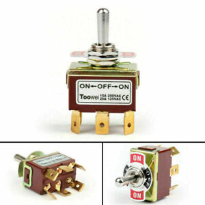 1pcs Toowei 3 Terminal 6pin On off on 15a 250v Toggle Switch Lock Dp3t Grade T4