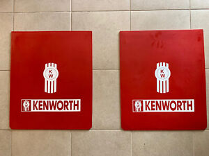 Kenworth Mud Flaps Red White Logo 24 X 30 Pair Heavy Duty Rubber