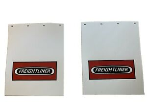 Freightliner Mud Flaps White red 24 x 30 pair Heavy Duty Poly