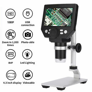 With Battery G1000 Digital Microscope 4 3 Lcd 8mp 1000x Zoom 1080p Hd Fhd F6t6