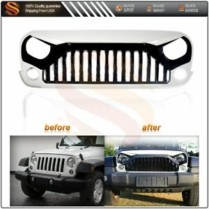 Front White Angry Bird Grill Grille For Jeep Wrangler 2007 2017 Jk unlimited