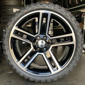 22 Chevy Silverado Tahoe Black Machine Wheels Mt Tires Gmc Yukon Sierra Rims