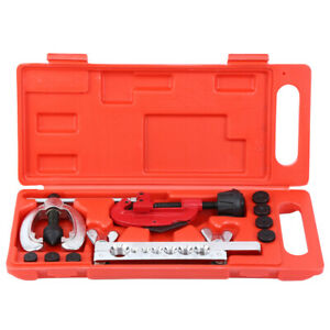 Double Flaring Brake Line Tool Kit Tubing Car Truck Tool Set W Mini Pipe Cutter