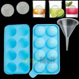 Round Silicon Ice Cube Ball Maker Tray 8pcs 1 57inch Sphere Molds Bar W Funnel