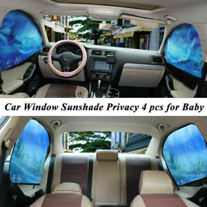 4pcs Car Sunshade Uv Protector Front Rear Side Window Curtain Magnetic Sun Shade