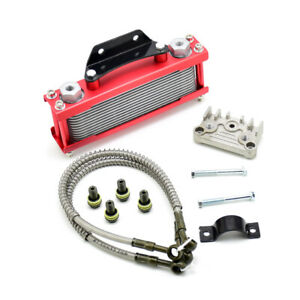 Red Motorcycle Oil Cooler Radiator Cnc Plate Cooling 110cc 200cc Universal