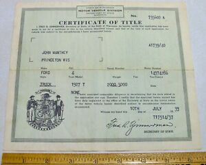 Original Historical Wisconsin 1927 Ford Model T Truck Certificate Of Title