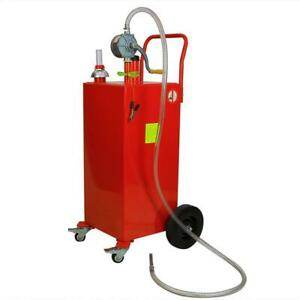 Red Steel 30 Gallon Gas Caddy Fuel Diesel Dispense Transfer Tool With Wheels