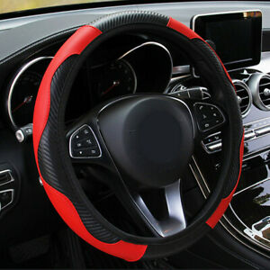 15 38cm Red Car Microfiber Leather Steering Wheel Cover Universal Accessories