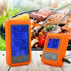 Wireless Digital Meat Thermometer Dual Probes For Grilling Bbq Food Oven Smoker