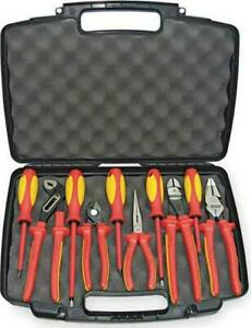 10pcs Insulated Tool Set Electrical Telecomm Tools Pliers Screwdrivers Kit