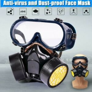Emergency Survival Safety Respiratory Gas Mask Goggles 2 Dual Protection Filter