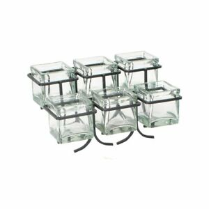 Cal mil 1809 13 Black Steel Frame Condiment Display With 6 Glass Cubes