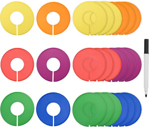 Blulu Colored Blank Closet Size Dividers Round Clothing Rack Dividers 24 Pieces